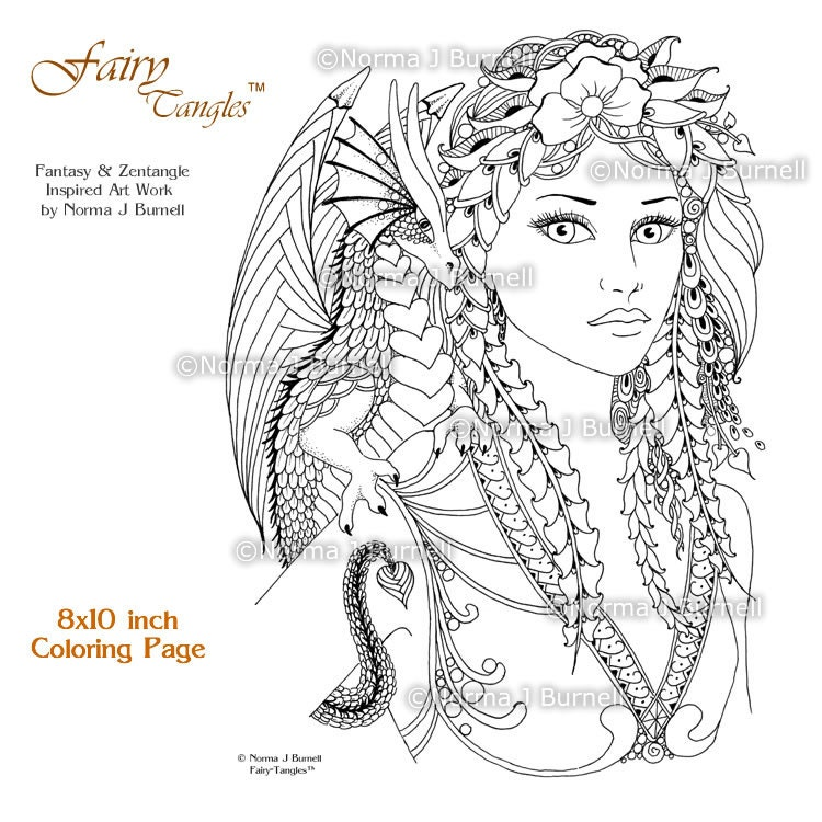 Fira drake fairy tangles printable coloring book pages by for Drake coloring pages