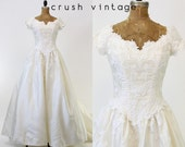 Silk Applique Gown Small / 1990s does 1950s Vintage White Wedding Dress /  Isn't She Lovely Gown