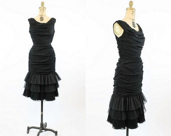 1950s Dress Ultra Wiggle Small  / 1950s Vintage Dress Tiered Gathered / Hug Those Curves Dress