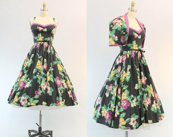 70s does 50s Dress Halter XS /  Vintage Dress and Bolero Floral Hawaiian / Hibiscus Spring Dress