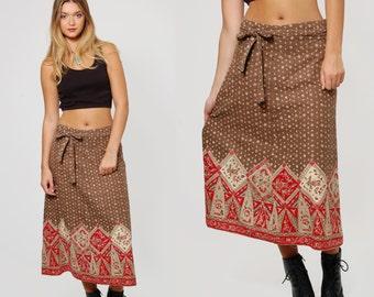 Vintage 70s ETHNIC Print Wrap Skirt Boho Midi Skirt Hippie Skirt INDIAN Skirt Cotton Skirt