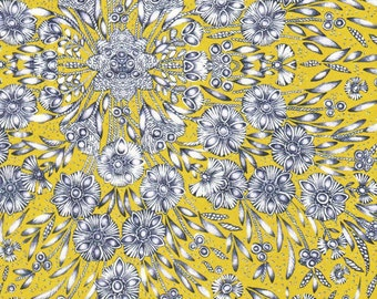 Liberty Fabric Autumn/Winter 2015 Ladie Zadie A Tana Lawn Fat Quarter Yellow White Falling Petals Floral