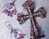 Amethyst Purple CROSS Brooch Pin & EARRINGS Set Christian Religious Jewelry