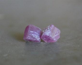 Raw Ruby Crystal Stud Earrings July Birthstone