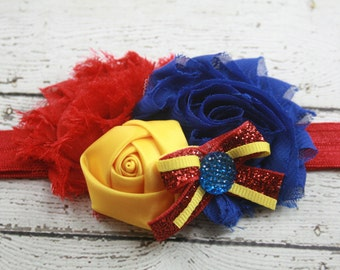 Blue red yellow princess flower headband - snow white inspired