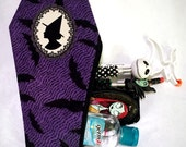 """Coffin Shape MakeUp Bag/Pencil Pouch in """"Witch Cameo Silhouette"""" purple Bat print"""