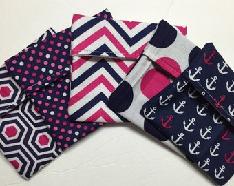 Set of 5 MamaBear Tuckables Pouch, Small (4 x 4) - Cloth Menstrual Pads, Wipes, Snacks, & more