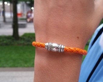 Mens Leather Bracelet / Womens Leather Bracelet / Orange Leather Wristband / Skye