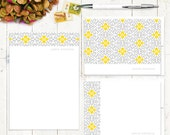 complete personalized stationery set - ORNAMENTAL FLOWER -  stationary set - note cards - notepad - choose colors