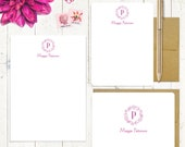 complete personalized stationery set - FLORAL WREATH MONOGRAM - personalized monogrammed stationary - note cards - notepad - choose color