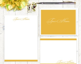 complete personalized stationery set - ELEGANT INITIALS - stationary set - note cards - notepad - choose color