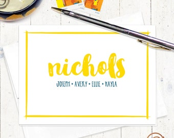 personalized stationery set - BRUSH SCRIPT family NAME - set of 8 folded note cards - personalized stationary - choose color