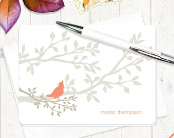 personalized stationery set  - BIRD ON BRANCH - set of 8 - personalized folded note cards - choose colors