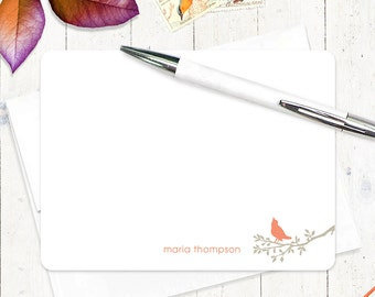 personalized note card stationery set  - BIRD ON BRANCH - set of 12 flat note cards - personalized stationary