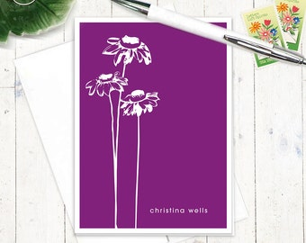 personalized stationery set - CONEFLOWER - set of 8 folded note cards - personalized stationary - choose color