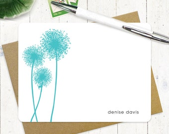 personalized note card stationery set - DANDELION - set of 12 flat cards - personalized stationary
