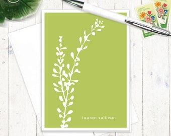 personalized stationery set - LEAFY STEM - set of 8 folded note cards - personalized stationary - choose color