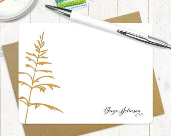 personalized stationery note card set - FANCIFUL FERN - set of 12 flat note cards - stationery - custom stationary - nature