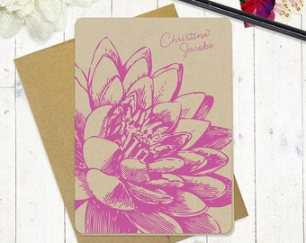 personalized note cards stationery set - LOTUS FLOWER BLOOM - set of 8 folded cards - kraft stationary - floral - botanical