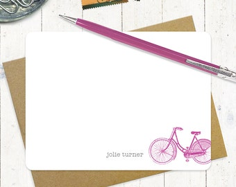 personalized stationery set - VINTAGE GIRLS BICYCLE - bike - set of 12 flat note cards - personalized stationary - women's bike