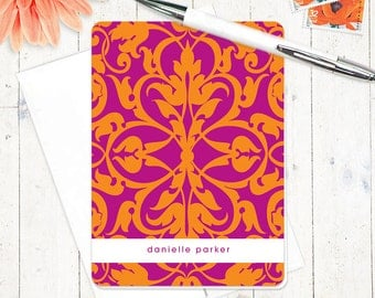 personalized stationery set - VIVID DAMASK - set of 8 folded cards - stationary set