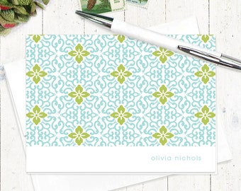 personalized stationery set - ORNAMENTAL FLOWER - set of 8 folded note cards - stationary