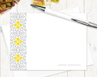 personalized stationery set - ORNAMENTAL FLOWER - set of 12 - personalized stationary flat note cards - choose color