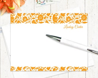 personalized stationery set - LOVELY LINDSEY - set of 12 flat note cards - women's stationary