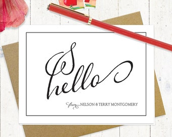 personalized stationery set - HELLO from the HEART - set of 8 folded note cards - choose color - stationary