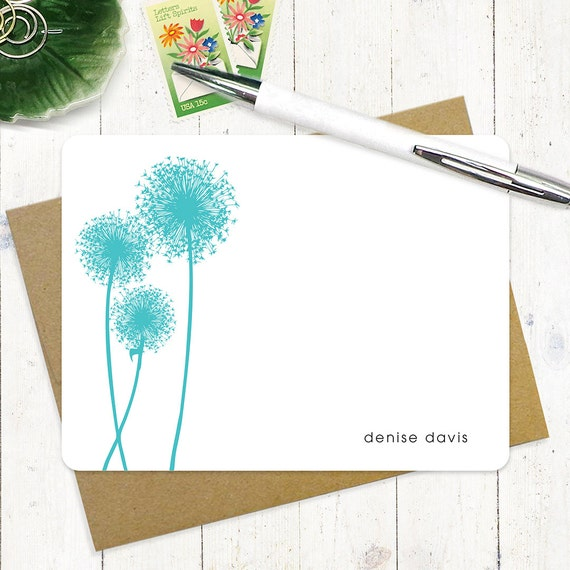 personalized stationery set - DANDELION - set of 12 flat note cards - personalized stationary - choose color