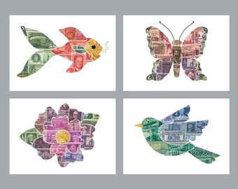 Free Shipping, 4 Postage Stamp 5x7 Prints: bird, butterfly, fish and flower