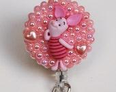 Piglett From Winnie The Pooh ID Badge Reel - ID Badge Holder - Zipperedheart
