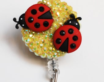 Two Sweet Lady Bugs ID Badge Reel - Retractable ID Badge Holder - Zipperedheart