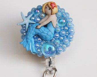 Lovely Mermaid Girl Vintage Zipper ID Badge Reel - RN ID Badge Holder - Zipperedheart