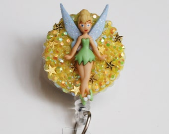 TinkerBell Standing Tall ID Badge Reel - ID Badge Holder - Zippers - Vintage - Recycle - Zipperedheart