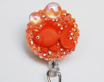 Smiling Goldfish ID Badge Reel - Retractable ID Badge Holder - Zipperedheart