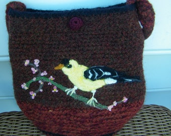 Felted and Needle felted Art bag /pocketbook