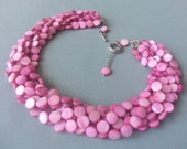 Pink Multi Strand Necklace Light Pink Jewelry Pink Wedding Chunky Dust Pink Torsade Necklace