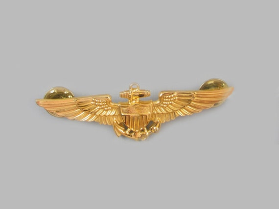 Vintage Vietnam Era gold filled US Navy Pilot full size military wings double clutch back brooch pin signed HH Hilborn & Hamburger