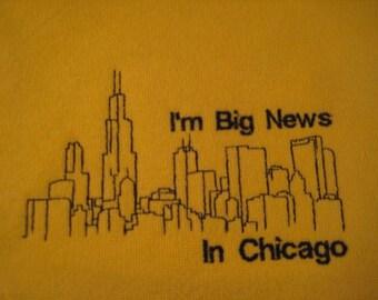 Chicago Baby Bib - I'm Big News in Chicago - Embroidered Chicago Skyline