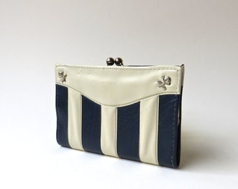 Mod Vintage Navy Blue and Ivory Striped Faux Leather Wallet / Distressed Vegan Wallet