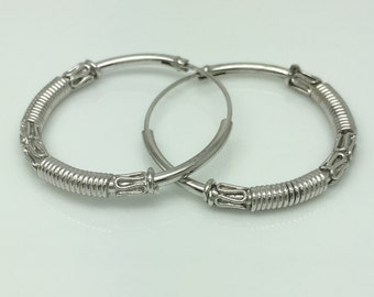 Wintry silver coil hoop earrings,  extra large men's hoop earrings, big wire hoop earrings, big hoop earrings, men's earrings, 559B