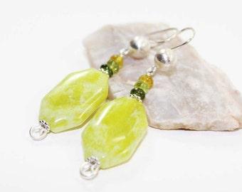 Peridot Jasper and Petro Tourmaline Gemstone . Sterling Silver Dangle Drop Earrings . Chartreuse Green, Shaded Green Ombre . E15073