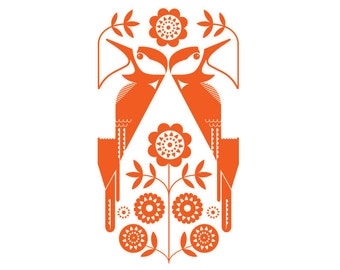 A3 Woodpeckers in folky orange - Open Edition Giclee Print