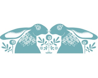 Blue Hares - Open Edition Giclee Printed In a Beautiful Soft Blue Ink