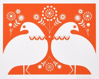 Winter Ptarmigan In Orange - Open Edition Giclee Print