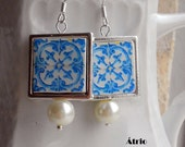 Portugal Antique Azulejo Blue Tile Replica 925 SILVER FRAMED Earrings, Aveiro,  Palacete do Visconde da Granja 577 SILVER