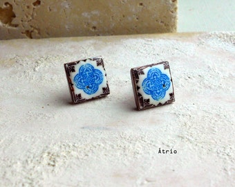 Portugal Antique Azulejo Tile Replica Post Stud Earrings Brown and Blue Lisbon 533 Stud - Gift Box Included