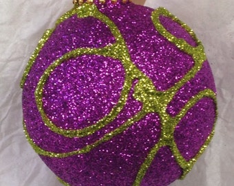 "OOAK ""Thread"" Glittered Christmas Ornament in fuchsia and chartreuse - 2 5/8 inches diameter"