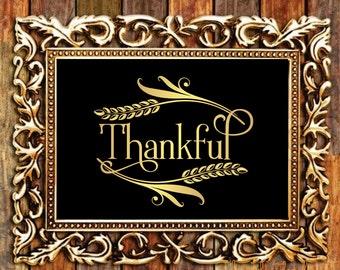 Thankful Decal, Vinyl Lettering, Thankful, Chalkboard Descal, Sign Decal, Vinyl Sticker, Wheat Stems, Thanksgiving, Kitchen Wall Sticker